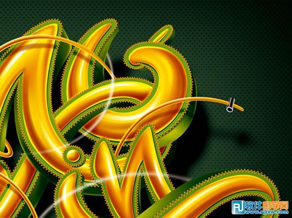 photoshop制作创意的潮流金色立体字 - 6 - 软件自学网