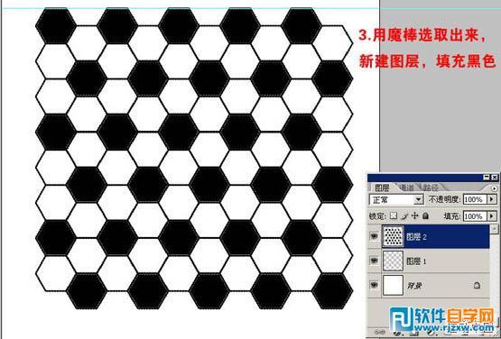 3,用魔术棒选区需要六边形选区,新建一个图层填充黑色,如下图,黑白