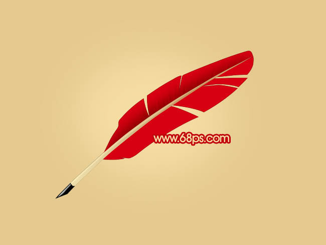 制作简单的红色羽毛笔