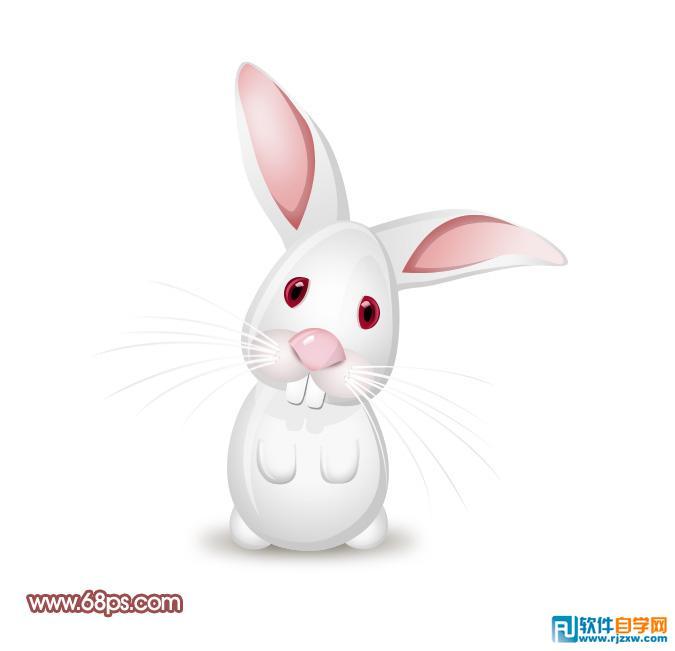 制作非常可爱的卡通小白兔