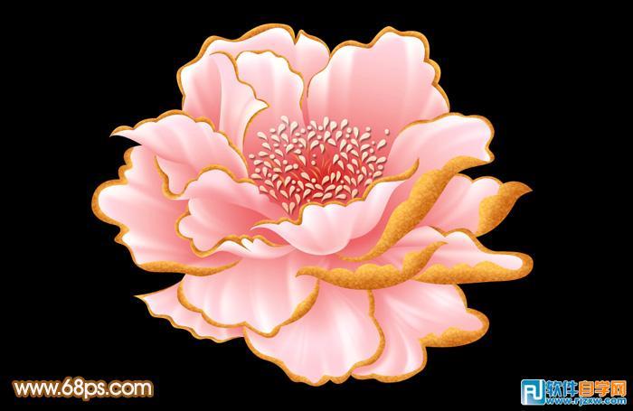 制作粉红色牡丹