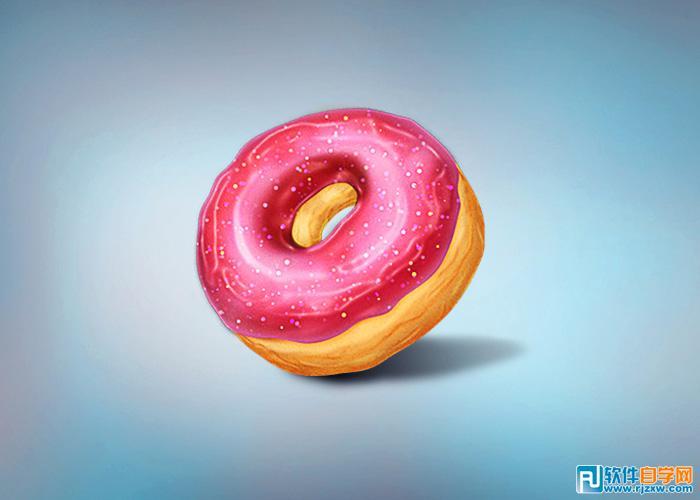 绘制草莓味甜甜圈图片
