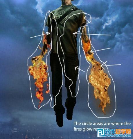ps经典合成自喷火焰飞行的超人