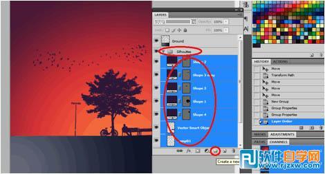 制作漂亮的剪影海报_软件自学网