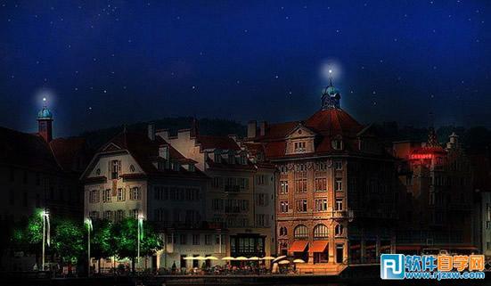 photoshop把白天城市建筑照片转为夜景效果 ps教程