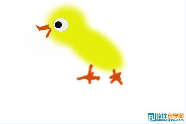 嘴和两只脚,并调整好画笔的大小和硬度,绘制出栩栩如生的可爱的小鸡.