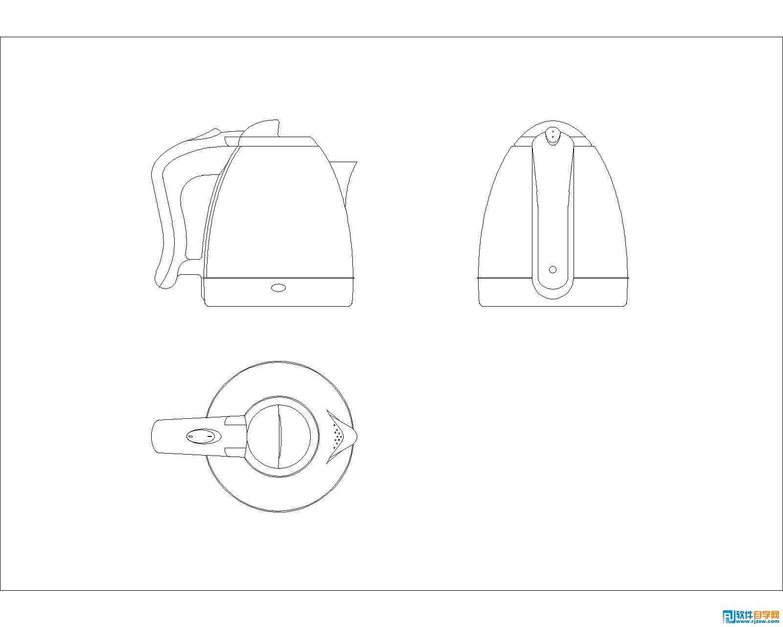 在宾馆闲来没事用AUTO CAD2010画了个电热水壶,三视图,机械制图标准,此教程由软件自学网首发,没有标注尺寸,圆弧过渡比较多,偏移和倒圆角命令运用较多,由于刚刚学习CAD绘图,画了半天才画完,以后多加练习,争取半小时搞定,熟能生巧,相信多加练习会实现的。